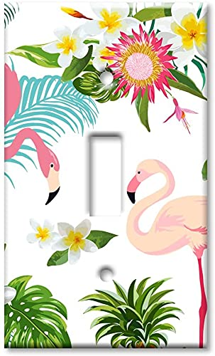 Cubierta de la placa del interruptor de la luzSingle Gang Toggle OVERSIZE Switch/Sobre el tamaño de la placa de pared - Flamingos