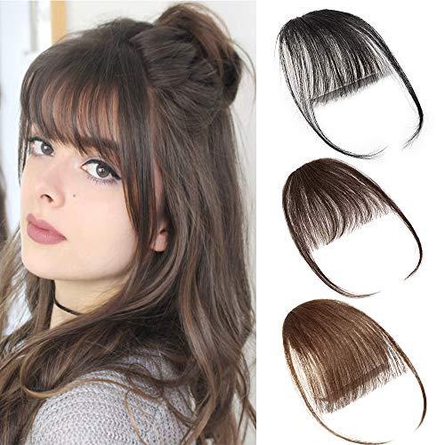 Air Pony Hair Clip In Pony Echthaar 100% Real One Stück Haar Extension mit Seite Tempel Clip In Extensions Echthaar #4 Mittel braun