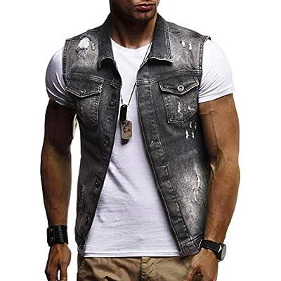 WUAI Clearance Men's Sleeveless Fashion Lapel Vintage Jeans Vest Motorcycle Jacket Waistcoat
