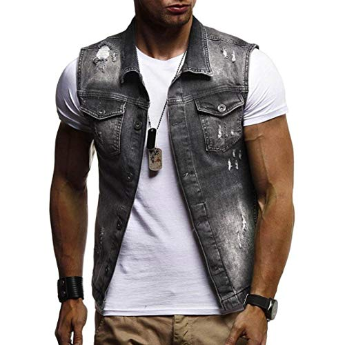 WUAI Clearance Men's Sleeveless Fashion Lapel Vintage Jeans Vest Motorcycle Jacket Waistcoat(Black,US Size M = Tag L)