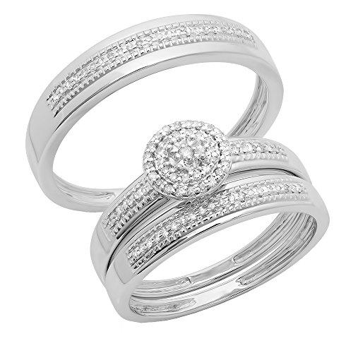 0,27Carat (quilate) 18K oro blanco redondo hombres y mujeres racimo de compromiso Trio de novia de diamante 1/4CT