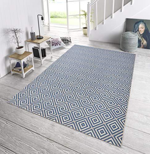 bougari In- und Outdoor Teppich Karo Blau, 160x230 cm