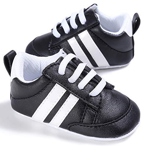 Geagodelia Sneakers Moda Neonato Sneaker Presepe Ragazzo e Ragazza Baby Scarpe Con Suola Morbida in Pizzo (Nero, 0-6m)