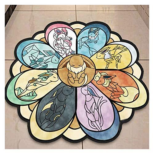 yywl Alfombra Habitación de los niños Piso Moqueta absorción de Agua Antideslizante Ordenador Silla Suave Tierra Alfombras Pokemon Ronda de Dibujos Animados Mat Alfombra (Color : 1, Size : 90cm)