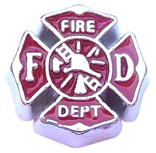 Fire Fighter Emblem Floating Locket Charm