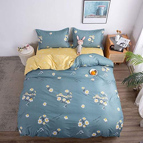 Duvet Sets Brushed Cotton Duvet Covers Printed Quilt Bedding 4pc (Color : 37, Size : 2.0m 4pc)