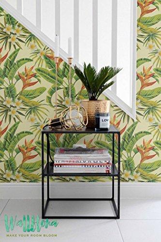 Heliconia (Fleur de Frangipanier et Frangipanier - Papier Peint Autocollant Amovible Papier peint Motif Palm Sticker mural Motif Palm poisson talls wallp, 53 Cm wide by 243 Cm Tall
