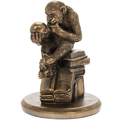 Thorne Antiques & Collectables Philosophisierender AFFE mit Totenkopf, Bronze, inspiriert von Wolfgang Hugo Rheinhold