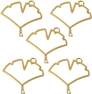 Misright 5Pcs Ginkgo Leaf Open Back Bezel Pendant, Open Back for Resin,Open Back Frame for UV Resin Crafts Jewelry Making