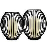 Candeleros de la jaula - Set de 2 | Linternas pequeñas y grandes de la vela del pilar | Porta Jaula para Velas | Decoración de candelabros para el hogar de hierro negro | M&W