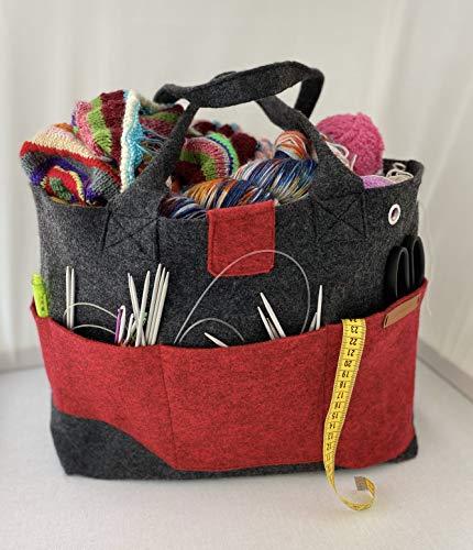 Projekttasche aus 100% Filz in verschiedenen Farben, für deine Handmade Projekte, Stricken, Häkeln, Nähen