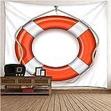 Aimsie Wandteppich, Rettungsring Wanddeko Mädchenzimmer Polyester Wandtuch Wanddeko Mädchen Orange Weiß 150X130Cm