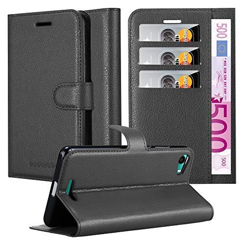 Cadorabo Hülle für WIKO Lenny 2 - Hülle in Phantom SCHWARZ – Handyhülle mit Kartenfach und Standfunktion - Case Cover Schutzhülle Etui Tasche Book Klapp Style