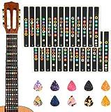 KSdeal 2 Sheets Guitar Fretboard Note Decals Scale Sticker Neck Fingerboard Frets Sticker for Beginner For 6 Strings Acoustic Electric Guitar & 10 Packs Guitar Picks