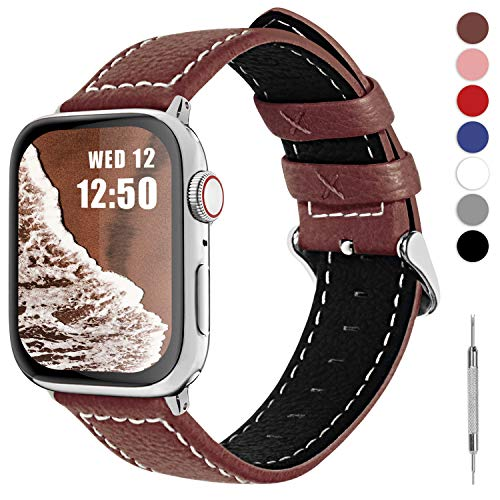 Fullmosa LC-Jan Cuero Correa, 7 Colores Correa Compatible Apple Watch/iWatch Series 5, Series 4, Series 3, Series 2, Series 1, 38mm, 42mm, Marrón 38mm