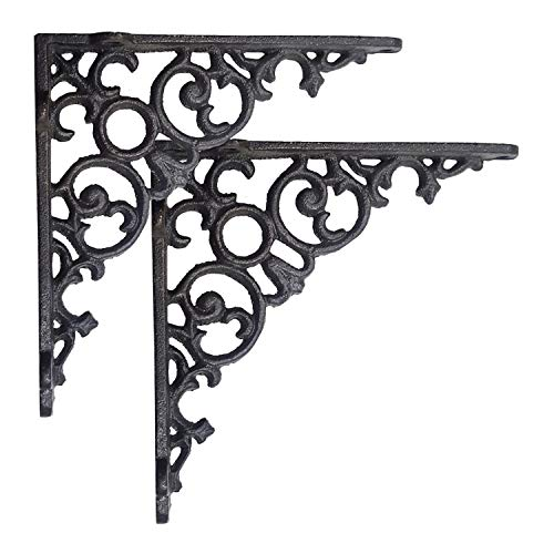 NACH js-90-418 Cast Iron Victorian Scroll Shelf Brackets, Pack of 2, Black, Large 12x2x12 Inches