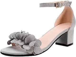 JJLOVE Women Women Ladies Block High Heel Sandals Flowers Adorn Buckle Casual Shoes Adjustable Straps Beach (Gray, 37)