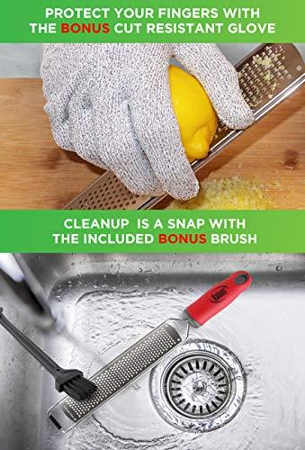 Citrus Zester, Cheese Grater With Handle, Lemon Zester, Razor Sharp Stainless Steel Blade, Rust Free
