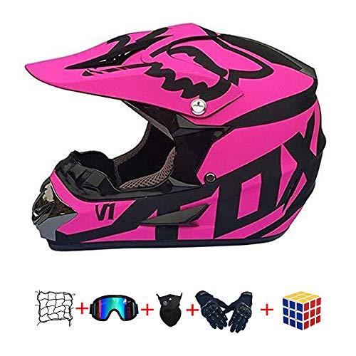 Casco Motocross Niño, ECE Certificación Casco de Moto para niños Downhill.Cascos de Cross de Moto Set con Gafas/Máscara/Red Elástica/Guantes (950, XL :58-59cm)