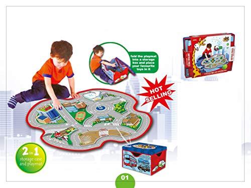 Teppich mit Landkarte und Aufbewahrungsbox für Kinder. Wandteppich für Kinder im Straßenverkehr. Decke, Aktivitäts-, Geschenk- und Spielteppiche für Babys und Neugeborene