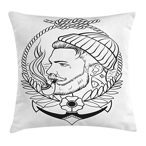 ABAKUHAUS Junger Mann Kissenbezug, Umreißen Seemann mit Pfeife, Dekorativer Kopfkissenhülle mit Beidseitiger Druck, 50 x 50 cm, Charcoal Grau und Weiß