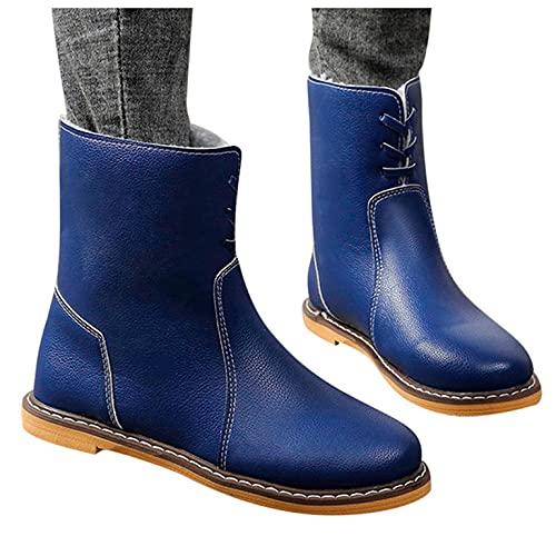 Moda mujer tacón cuadrado con cordones de color sólido bota media mantener calientes zapatos de punta redonda