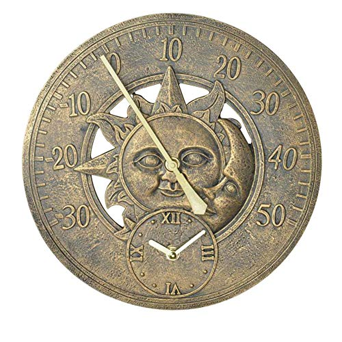 Warmiehomy 30cm/12inch Vintage Wall Clock with Thermometer, Sun & Moon...