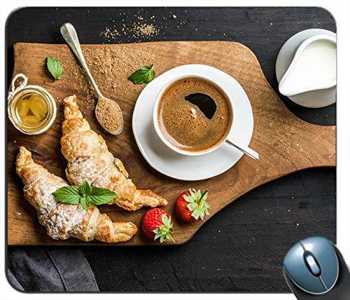 Kaffee Croissants Brot Milch Honig Erdbeere Personalisierte Rechteck Maus Pad Maus Matte