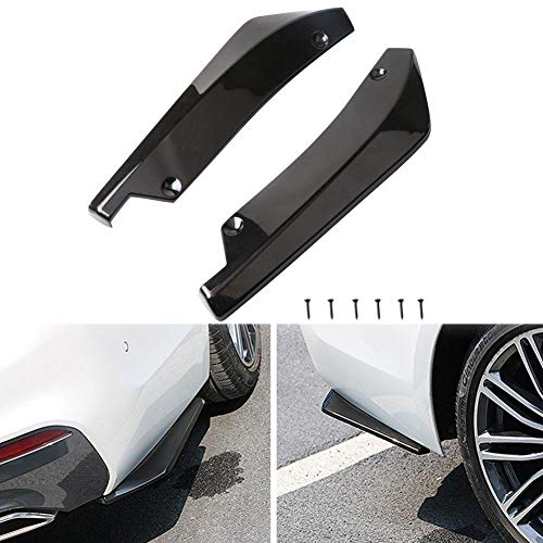 sundan 2Pcs Rear Bumper Diffuser Universal Car Side Fender Skirt Lip Splitter Canard Protector Car Bumper Side Guard 1 Pair/Black (Black)