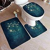 Ttrsudddsyy Juego de alfombras de baño de 3 Piezas,Constelación de Acuario, Almohadillas Antideslizantes Alfombrilla de baño + Contorno + Cubierta de Tapa de Inodoro Almohadilla