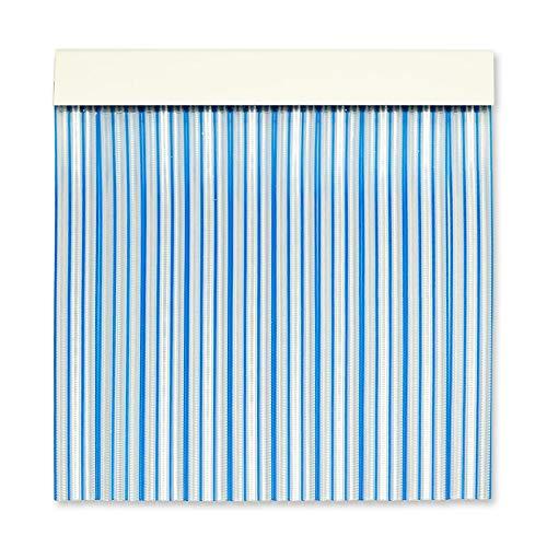 Cortinas Exterior Puerta | Material Plastico PVC y Barra Aluminio | Ideal para Terraza y Porche | Antimoscas | Transparente-Azul | 210 * 90