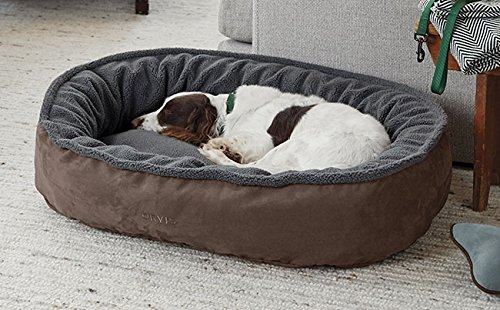 Orvis Comfortfill-eco Wraparound Dog Bed with Fleece/Large Dogs 60-90 Lbs, Mocha,