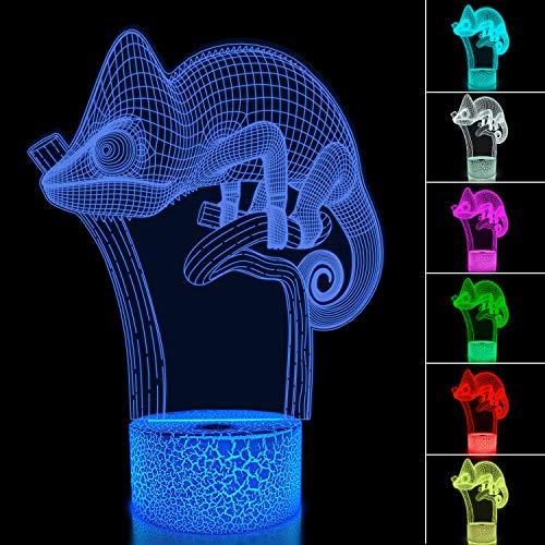 Chamäleon 3D Nachtlicht Eidechse Projektion LED Lampe Baby Kinderzimmer Nachtlicht für Kinderzimmer Wohnkultur Weihnachten Geburtstagsgeschenke mit Fernbedienung 16 Farbwechsel