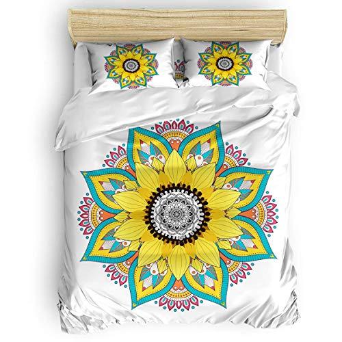 HARXISE Ropa de Cama Lavable Juego de Funda nórdica con patrón de geometría Brillante de Mandala y Flor de Girasol de 3 Piezas con Cierre de Cremallera, Funda de edredón y 2 Fundas de Almohada