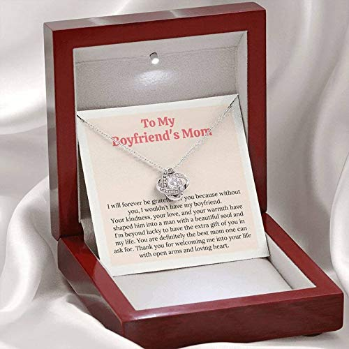 Sterling Silver Chain Gifts Jewelry For Women Her Accessories Letter-Celtic Knot Love Necklace Mahogany With Light,To My Boyfriend's Mom I am Beyond Lucky To Have The Extra Gift Of You in My Life