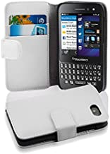 Cadorabo Case Works with BlackBerry Q5 (Design Book Structure) - with 2 Card Slots - Wallet Case Etui Cover Pouch PU Leather Flip SNOW-WHITE DE-100604
