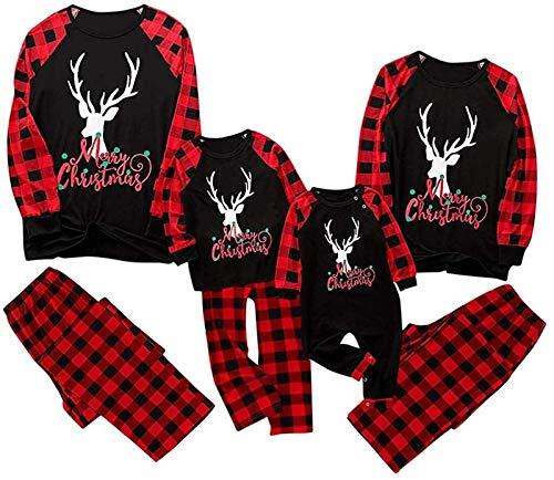Coincidencia de Navidad de la familia Pajamass Conjunto, Navidad de la familia pijamas Set, desgaste de la ropa de noche Hombre Mujeres Niño Niña Bebé (Color : Black)