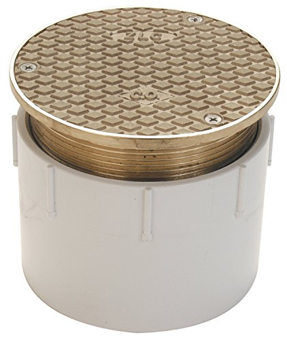 """Zurn CO2450-PV3, Adjustable Floor Cleanout, 3 Inch PVC Hub Connection , Brass , 3"""" Pipe"""