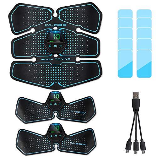 Popolic Elettrostimolatore per Addominali, Elettrostimolatore per Addominali, Elettrostimolatori ABS Stimolatore USB Ricaricabile Muscolare EMS Addominale Trainer Gear per Uomini Donne (Stile Corto)