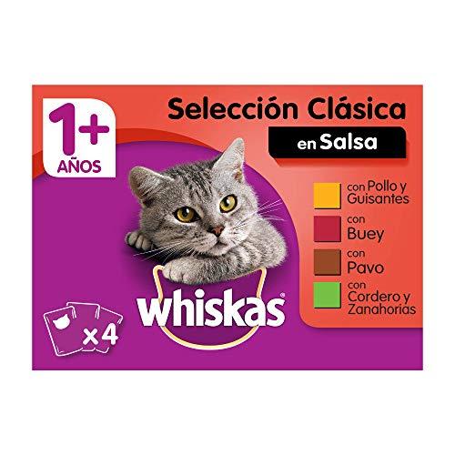 Whiskas Comida Húmeda para Gatos Selección Carnes en Gelatina, Multipack (Pack de 13 x 4 bolsitas x 100g)
