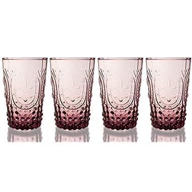 Fleur De Lys Amethyst Juice Glass 4-Piece Set, 10 Ounce