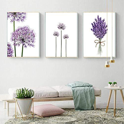 RuiChuangKeJi Nordischer Stil 3 Stück 40x60cm ohne Rahmen Skandinavische Moderne Lila Lavendel Blumen Poster Moderne Grüne Wandkunst Poster Und Drucke Wohnkultur