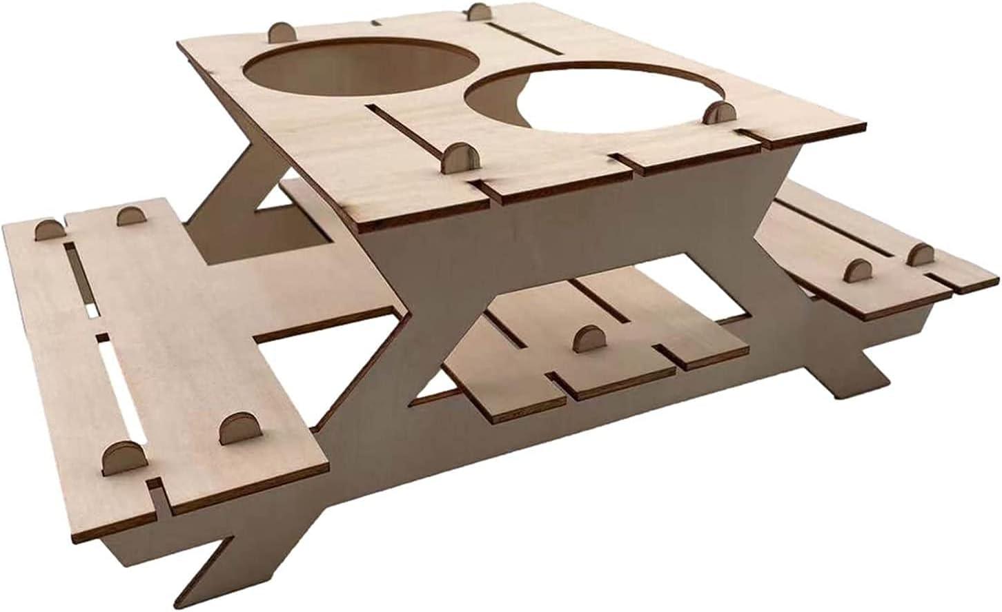 LXNQG 2021 Nueva Mesa de Picnic Plegable de Madera con Soporte de Vidrio, portátil 2 en 1 Mesa de Picnic, Mesa Plegable Creativa para al Aire Libre Jardín Travel Playa fácil de Llevar