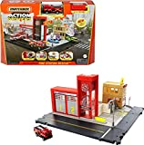 Matchbox Action Drivers Fire Station Rescue Playset with 1:64 Scale Firetruck,...