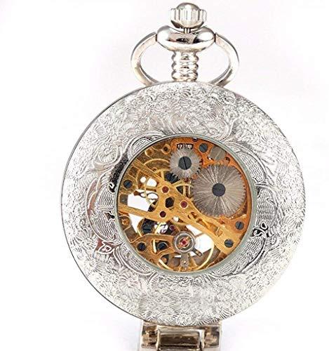 KUANDARGG Reloj De Bolsillo con Cadena Analógica Romana para Hombre, Silver