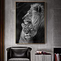 キャンバス絵画白黒ライオンズキャンバスアートポスターとプリント動物ウォールアートライオンズ写真家の寝室の装飾60x80cmフレームレス