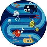Momeni Rugs Lil' Mo Whimsy Collection, Kids Themed Hand Carved & Tufted Area Rug, 5' Round, Multicolor Ocean Animals on Blue
