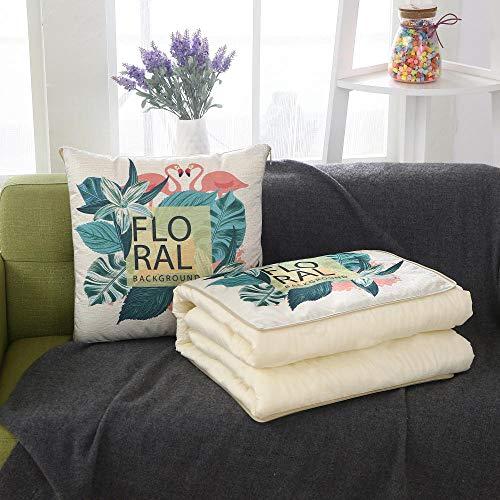 Xiaothang Rugkussen, tweezijdig gebruiksdoel, groene plantenkraan, zachte reiskussen, deken voor volwassenen en kinderen, voor op kantoor