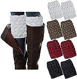 4 pares de calentadores de pierna para mujer, botas de invierno, calcetines de ganchillo de punto...