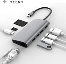 HyperDrive USB-C Hub Adapter for iPad Pro, MacBook Pro/Air, Power 9-in-1 USBC Hub Dongle with 4K HDMI, USB-C PD, Gigabit Ethernet, Audio Jack, 3X USB 3.0, Micro/SD Card Slots (Space Gray)